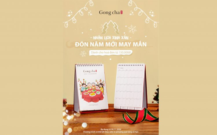 GONG CHA – RECEIVE FREE CALENDAR 2021 FOR BILL FROM 150K