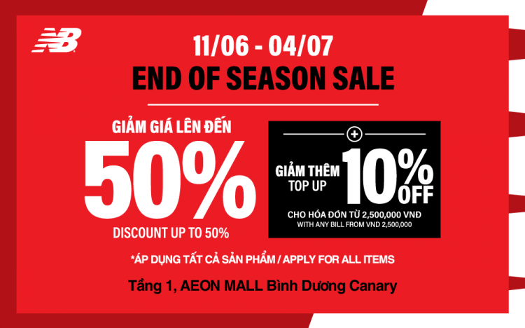 NEW BALANCE – END OF SEASON SALE – DISCOUNT UP TO 50%